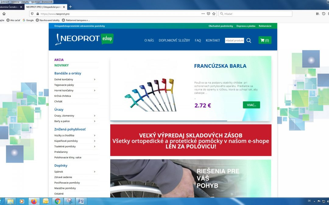 Výpredaj v e-shope s ortopedickými pomôckami
